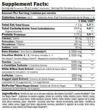 etiqueta informacion nutricional per4mx
