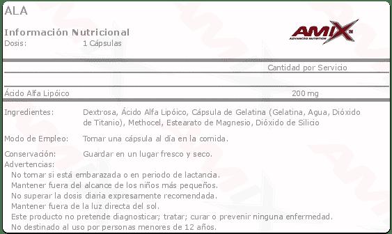 etiqueta informacion nutricional ala Amix