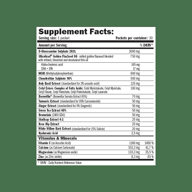 etiqueta informacion nutricional optipack osteo flex 20 packs amix