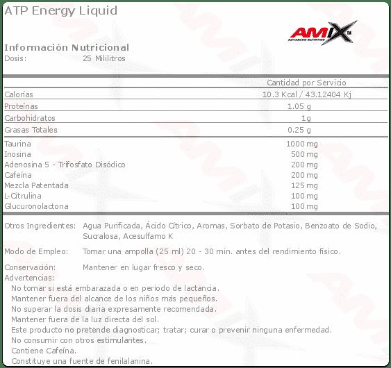 Información nutricional estimulante pre entreno ATP Energy Liquid de Amxi