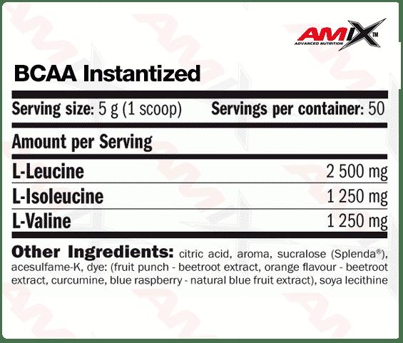 etiqueta informacion nutricional BCAA instantized