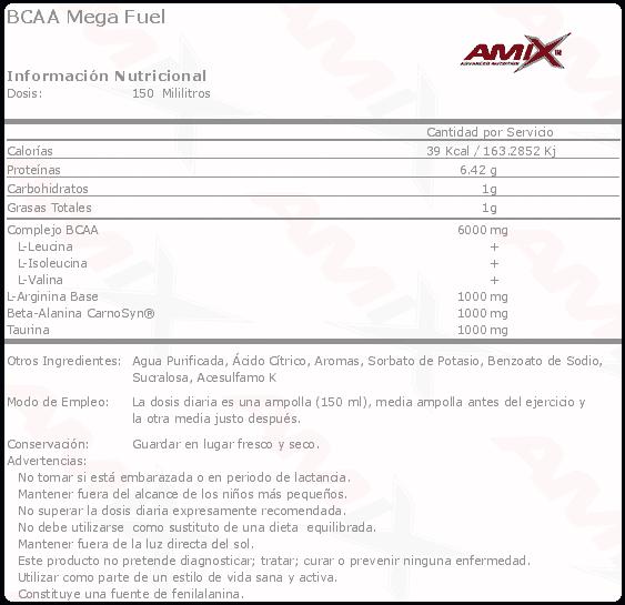 etiqueta informacion nutricional BCAA mega fuel Amix