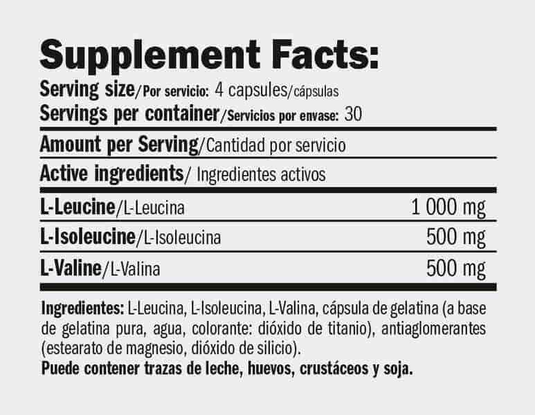 etiqueta informacion nutricional bcaa xt