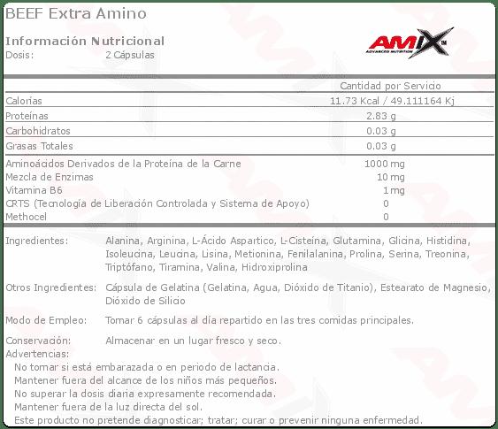 etiqueta informacion nutricional beef extra amino Amix