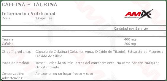 etiqueta informacion nutricional cafeina taurina