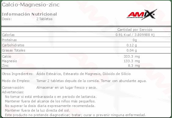 etiqueta informacion nutricional calcio magnesio zinc