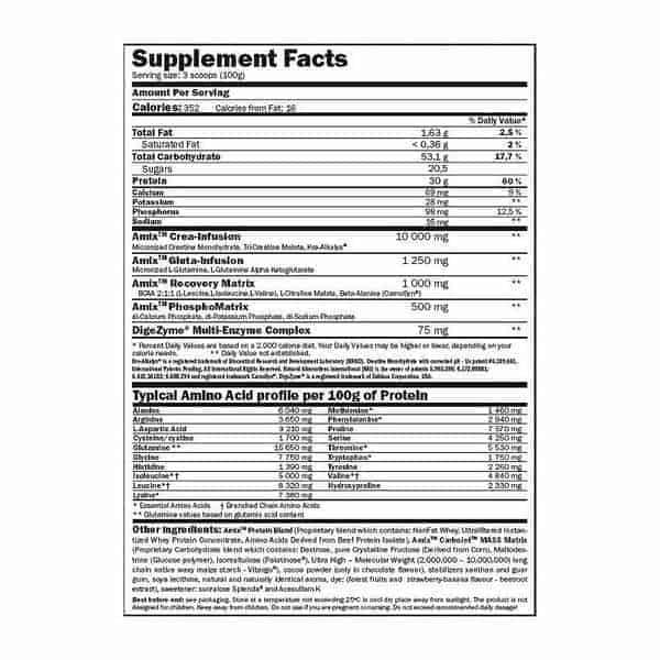 etiqueta informacion nutricional carbojet mass professional