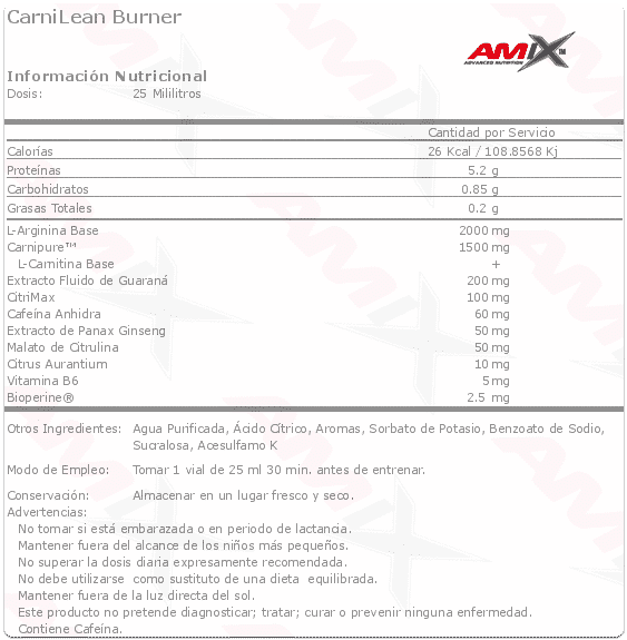 Información nutricional quemagrasas CarniLean de Amix