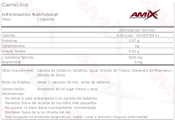 etiqueta informacion nutricional Carniline