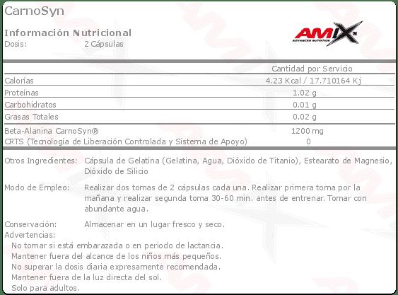 Información nutricional aminoácido CarnoSyn 100 cápsulas de Amix