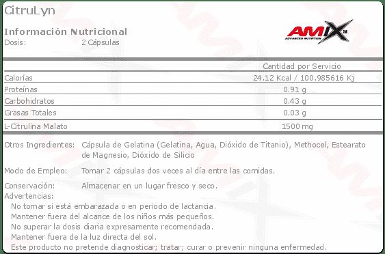 Información nutricional suplemento deportivo Citrulyn 120 cápsulas de Amix