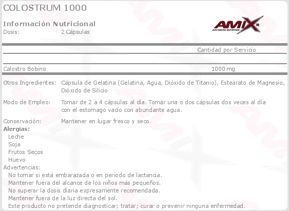 etiqueta informacion nutricional colostrum Amix