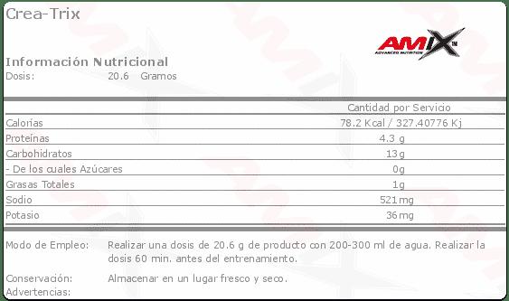 etiqueta informacion nutricional Crea trix Amix