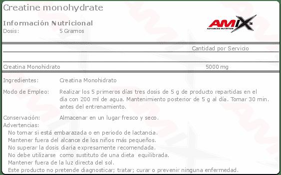 etiqueta informacion nutricional Creatine monohydrate Amix