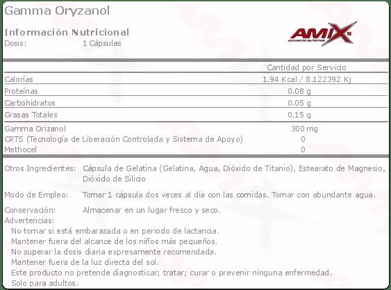 etiqueta informacion nutricional gamma oryzanol