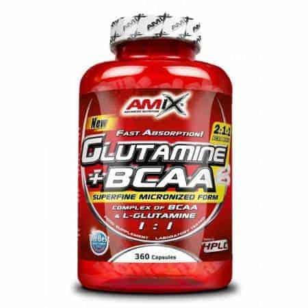 Glutamina + BCCA Powder de Amix 360 cápsulas