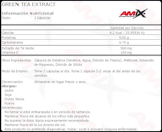etiqueta informacion nutricional green tea extract Amix