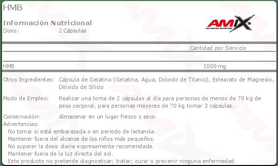 etiqueta informacion nutricional hmb amix