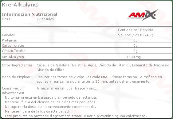 Información nutricional suplemento dietético Kre-Alkalyn 150 cápsulas