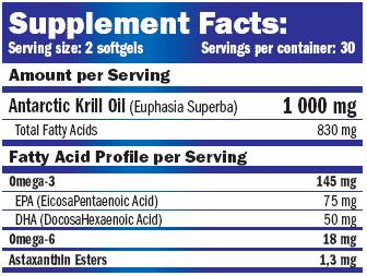 Información nutricional micronutriente Krill Oil 1000 mg 60 cápsulas