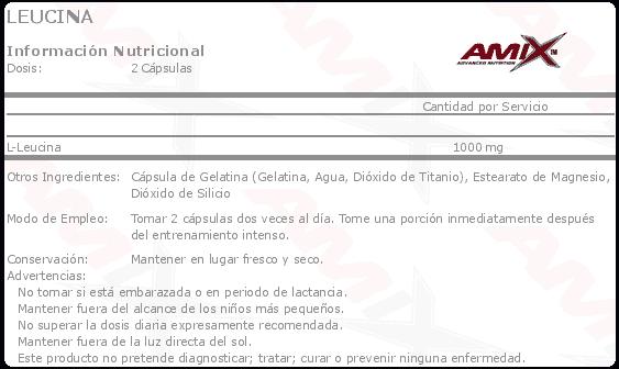 Información nutricional aminoácido Leucine 120 cápsulas de Amix