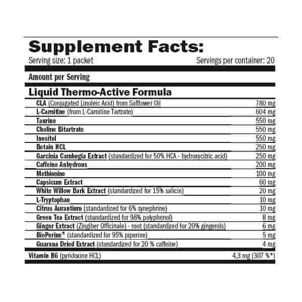 etiqueta informacion nutricional lipolean men cut 20 packs