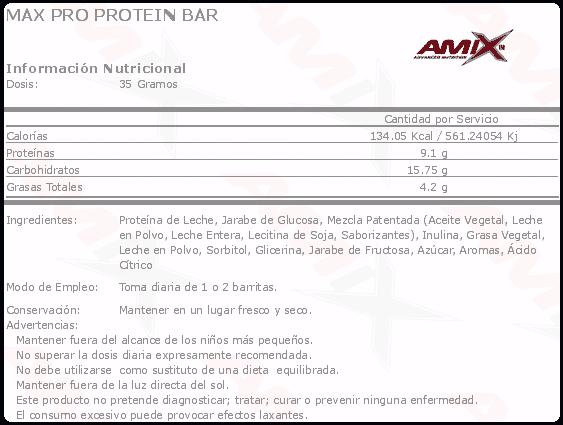 etiqueta informacion nutricional max pro protein bar