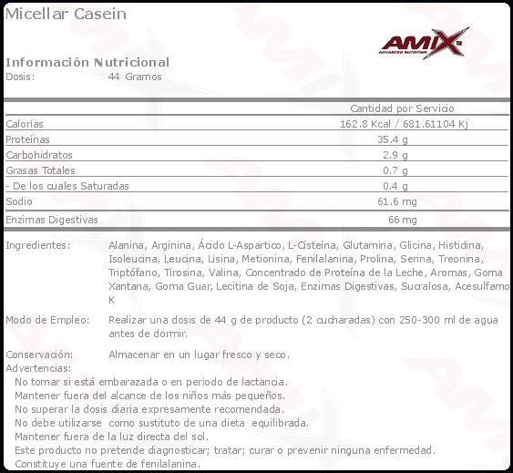 etiqueta informacion nutricional micellar casein Amix