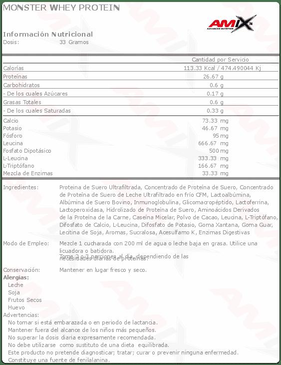 etiqueta informacion nutricional monster whey protein amix