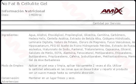 etiqueta informacion nutricional no fat cellullite