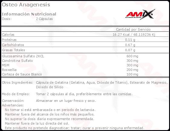 etiqueta informacion nutricional osteo anagenesis