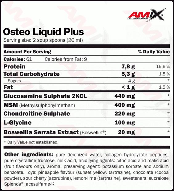 etiqueta informacion nutricional osteo liquid plus