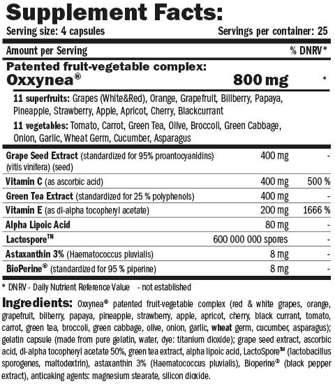 Información nutricional Oxxy Dtox 100 cápsulas de Amix