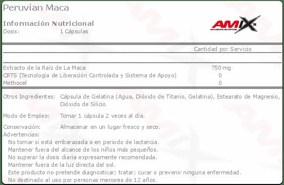etiqueta informacion nutricional peruvian maca Amix