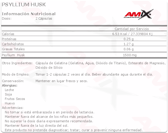 etiqueta informacion nutricional psyllium husk