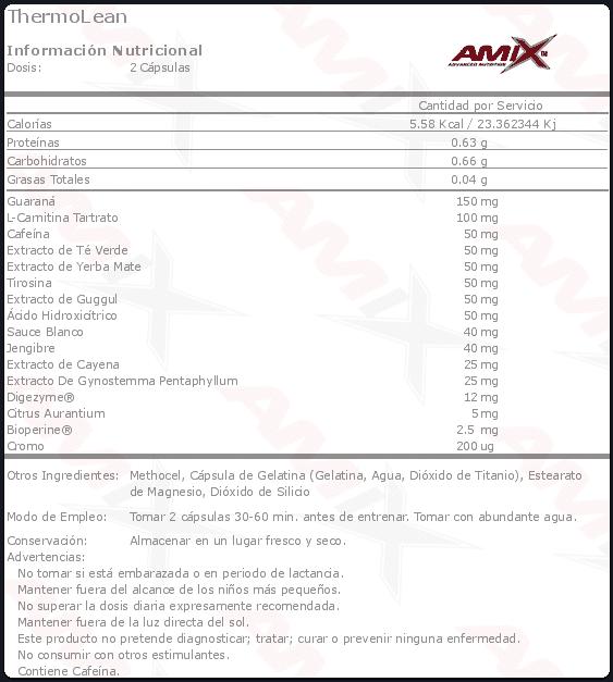 etiqueta informacion nutricional thermolean amix