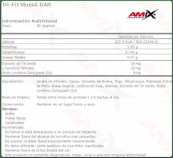 etiqueta informacion nutricional tri fit Amix