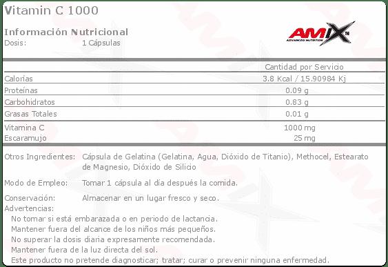 etiqueta informacion nutricional vitamin c 1000