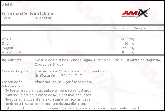 etiqueta informacion nutricional zma amix