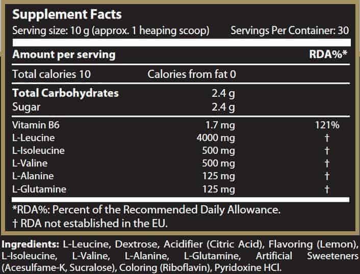 etiqueta informacion nutricional 276 aminograma bcaa complex scitec