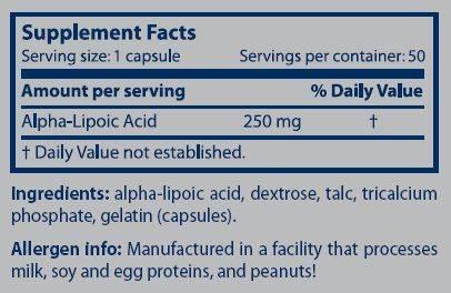 Información nutricional suplemento Ala 50 cápsulas
