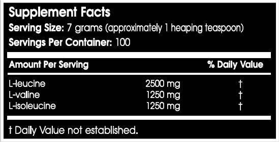 Información nutricional aminoácido BCAA Xpress de Scitec Nutrition