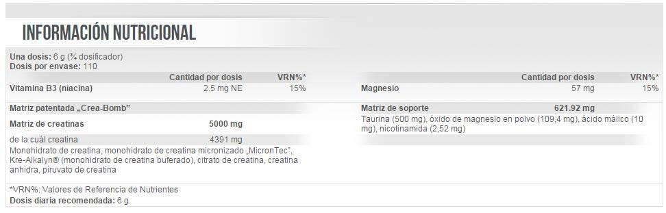Información nutricional Crea-Bomb suplemento de creatina