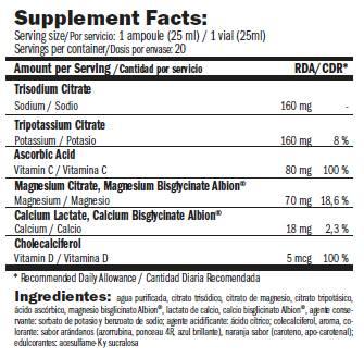 Información nutricional suplemento vitaminico E-Lite Electrolytes 20x25 ml de Amix