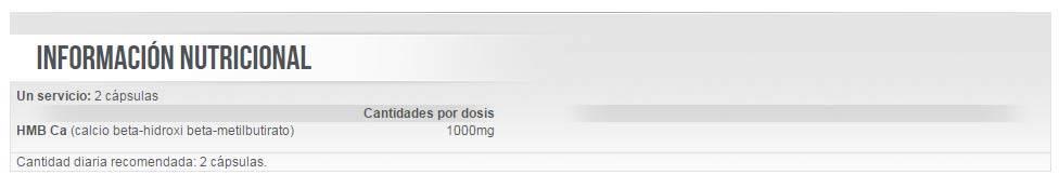 Información nutricional aminoácido HMB 90 cápsulas