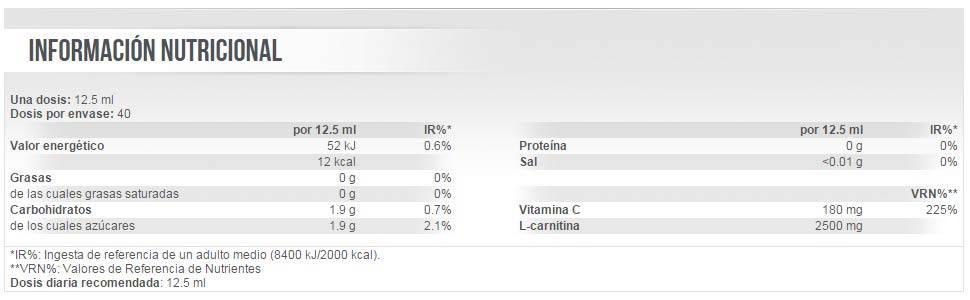 Información nutricional Liquid Carni-X 100000 de Scitec