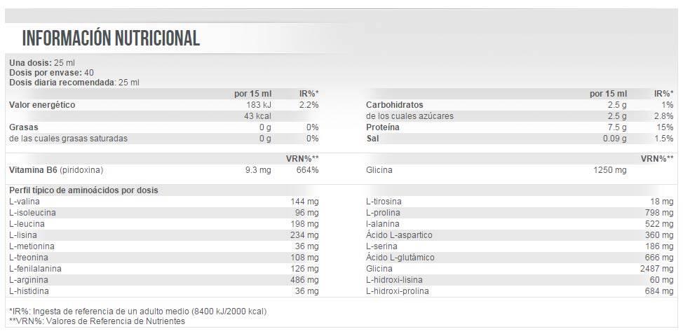etiqueta informacion nutricional Liquid Amino 30