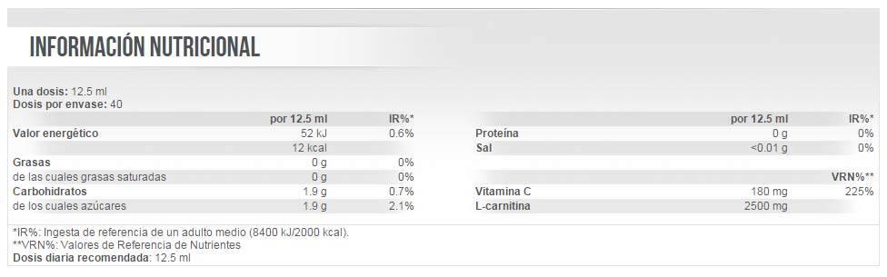 Información nutricional reductor de grasa corporal Liquid Carni-X 2000 20 viales
