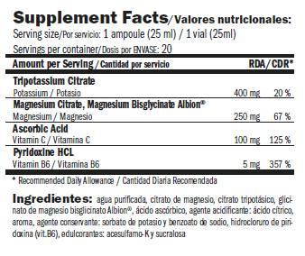 Información nutricional suplemento magnesio Magnesium Liquid Plus de Amix