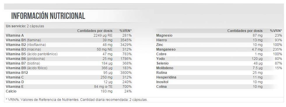 etiqueta informacion nutricional mega daily one plus